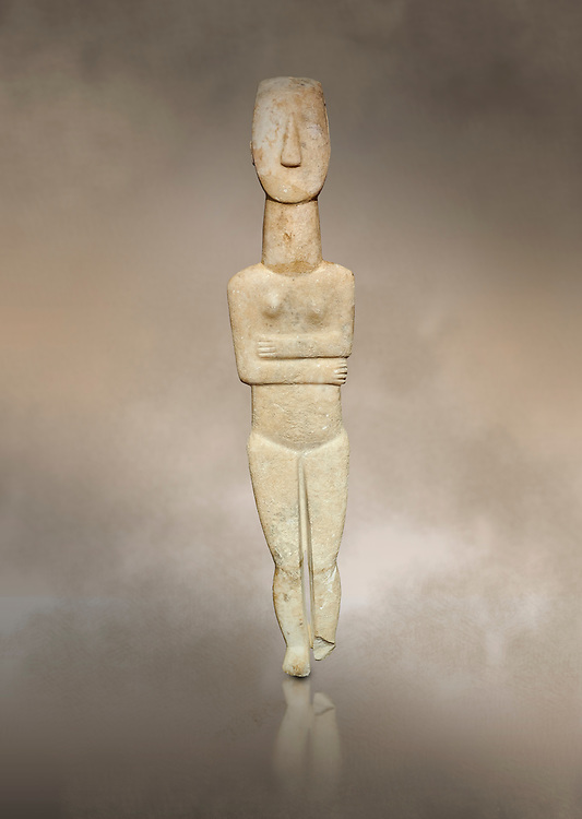 Marble female Cycladic statue figurine with folded arms of the Spedos type. Early Cycladic Period II (2800-3200) from Naxos, Cat No 20934. National Archaeological Museum, Athens. <br /> <br /> One of the largest known Cycladic statues at 89CM tall this figurine still has traces of a colour on the hair and eyes. .<br /> <br /> If you prefer to buy from our ALAMY PHOTO LIBRARY  Collection visit : https://www.alamy.com/portfolio/paul-williams-funkystock/cycladic-art-artefacts.html Type into the LOWER SEARCH WITHIN GALLERY box to refine search by adding background colour, place, museum etc<br /> <br /> Visit our CYCLADIC CIVILISATIONS PHOTO COLLECTIONS for more photos to download or buy as wall art prints https://funkystock.photoshelter.com/gallery-collection/Cycladic-civilisation-Ancient-Greek-Artefacts-art-Photos-Pictures-Images/C0000CmevVvnC.XU