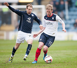 Dundee's Martin Boyle and Falkirk's Craig Sibbald.<br /> Dundee 0 v 1 Falkirk, Scottish Championship game played today at Dundee's Dens Park.<br /> © Michael Schofield.