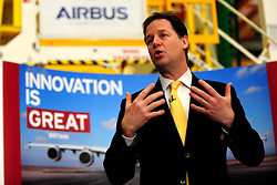 © Licensed to London News Pictures. 19/02/2013.Bristol, City of Bristol. Deputy Prime Minister Nick Clegg visits Bristol's Airbus to announce major investment. Photo credit : Jon Kent/LNP