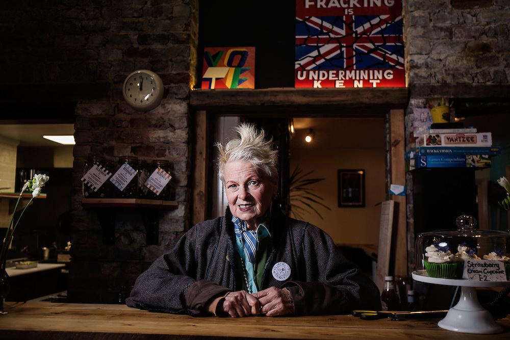 """Dame Vivienne Westwood opens """"The Evolution Café,"""" by We are the Reality Party E on April 30. 2015.<br /> <br /> Dame Vivienne Westwood will be launching the new concept – The Evolution Café, by We are the Reality Party, whereby in return for assistance and sharing the work load – any family can ensure they are fed with nutritious, organic food grown on a local allotment.<br /> <br />  <br /> <br /> """"Good food doesn't need to be the preserve of the rich,"""" says Dame Vivienne Westwood.<br /> <br />  <br /> <br /> """"Nor do people need to feel that no one is looking out for them and they simply can't afford to put a good meal on the table"""".<br /> <br />  <br /> <br /> """"The Evolution Café is the Good Life. Not what David Cameron has tried to con Britons into believing, where people have their welfare cut and go starving"""".<br /> <br />  <br /> <br /> Dame Vivienne Westwood's son Joe Corré, is behind the concept. Corre has backed the Reality Party's campaign nationally and is financing the Evolution Café concept.<br /> <br />  <br /> <br /> He believes the Community Café concept can be rolled out to other areas, with Thanet South acting as a model.<br /> <br />  <br /> <br /> The Evolution Café is the first Community Café in the area, adhering to Happy Monday's Bez's philosophies of Perma Culture, or 'grow it and eat it and then grow it again'.<br /> <br />  <br /> <br /> According to Dame Vivienne Westwood: """"Ramsgate, part of Thanet South, is a place that has been preyed upon by UKIP because they believe that problems can be explained away by pointing fingers at others"""".<br /> <br />  <br /> <br /> """"The reality is community's like Ramsgate in Thanet South, need to look to each other for support and help"""".<br /> <br />  <br /> <br /> """"The Evolution café is a fantastic concept I support"""".<br /> <br />  <br /> <br /> The owner of the Café, Nigel Askew, is the Real Pub Landlord and is a candidate for We are the Reality Party in South Thanet. He's organised a 3-day Music Festiv"""