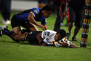 Francis Fainifo dives over in the corner to score during the Western Force v ACT Brumbies Super 14 rugby union round 14 match played at Subiaco Oval, Perth Western Australia on Friday 16th May 2007. Force 29 defeated the Brumbies 22. Photo: Clay Cross/PHOTOSPORT