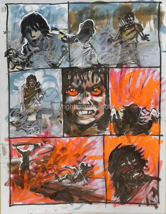 Storyboard page (no. 39) from a sketchbook featuring characters, costumes and storyboards for Le Feu Ecarlate or the Scarlet Fire, Series 35 of the Thorgal comic book series, to be published November 2016, by Grzegorz Rosinski, 1941-, Polish comic book artist. Rosinski was born in Stalowa Wola, Poland, and now lives in Switzerland, and is the author and designer of many Polish comic book series. He created Thorgal with Belgian writer Jean Van Hamme. The series was first published in Tintin in 1977 and has been published by Le Lombard since 1980. The stories cover Norse mythology, Atlantean fantasy, science fiction, horror and adventure genres. Le Feu Ecarlate takes place in Bag Dadh, a city under siege by the Magnus force, where Thorgal must find Aniel and save him from the Red Wizards who made him the reincarnation of their Grand Master Kahaniel. Picture by Manuel Cohen / Further clearances requested, please contact us and/or visit www.lelombard.com
