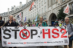 Stop HS2 activists take part in the Extinction Rebellion March for Nature on the final day of the two-week Impossible Rebellion on 4th September 2021 in London, United Kingdom. Extinction Rebellion are calling on the UK government to cease all new fossil fuel investment with immediate effect.