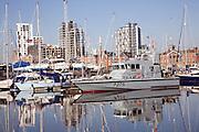 Boats moored in Wet dock marina, Ipswich, Suffolk, England