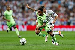 Raheem Sterling of Manchester City is challenged by Daniel Carvajal of Real Madrid - Mandatory byline: Rogan Thomson/JMP - 04/05/2016 - FOOTBALL - Santiago Bernabeu Stadium - Madrid, Spain - Real Madrid v Manchester City - UEFA Champions League Semi Finals: Second Leg.
