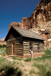 Utah: Capitol Reef National Park.  Mormon school house at Fruita.  .Photo copyright Lee Foster, www.fostertravel.com.Photo #: utcapi102, 510/549-2202, lee@fostertravel.com