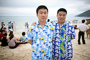 "Chinese tourists on the main beach ""Donghai"" in Sanya, China."