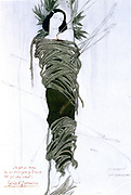 St Sebastian' (dc288) Christian martyr Roman soldier and Captain of the Praeterian Guard. Executed under Emperor Diocletian. Design by the Russian artist Leon Bakst (1866-1924) for a 1911 production of 'The Martyrdom of St Sebastian' by Gabriele D'Annunzio. Crayon, watercolour and gouache on paper. Private collection  .