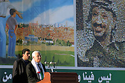 Mahmoud Abbas, new President of the Palestinian Authority (PA), addressing a speech to the people at the Palestinian Authority (PA) headquarter and last residence of Yasser Arafat, in the Palestinian capital Ramallah, on Friday, Nov. 11, 2005, the first anniversary of the former Palestinian leader. The dream to gain Jerusalem back is imprinted in the propaganda poster behind him just beside a large picture of the iconic former Palestinian leader. **ITALY OUT**
