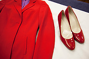 CRAWLEY, WEST SUSSEX, UK, OCTOBER 27TH 2011. Virgin Atlantic air stewardess uniform and shoes at The Base training facility. (Photo by Mike Kemp for The Washington Post)
