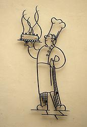 THEMENBILD - Bild zeigt stilisierter Baecker mit duftender Torte an Hauswand einer Baeckerei // stylized Baecker with fragrant cake at a bakery house wall Schwarzwald in Stuttgart, Germany on 2015/02/18. EXPA Pictures © 2015, PhotoCredit: EXPA/ Eibner-Pressefoto/ Weber<br /> <br /> *****ATTENTION - OUT of GER*****
