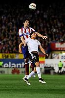 Atletico de Madrid´s Tiago Cardoso and Valencia CF´s Enzo Perez during 2014-15 La Liga match between Atletico de Madrid and Valencia CF at Vicente Calderon stadium in Madrid, Spain. March 08, 2015. (ALTERPHOTOS/Luis Fernandez)