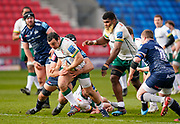 Sale Sharks lock Josh Beaumont tackles London Irish Hooker Agustín Creevy during a Gallagher Premiership Round 14 Rugby Union match, Sunday, Mar 21, 2021, in Eccles, United Kingdom. (Steve Flynn/Image of Sport)