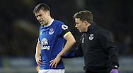 Seamus Coleman of Everton goes off injured during the Premier League match at Goodison Park, Liverpool. Picture date: December 4th, 2016.Photo credit should read: Lynne Cameron/Sportimage
