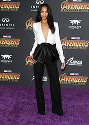 Marvel Studios Avengers: Infinity War World Premiere in Hollywood, California on 4/23/18. 23 Apr 2018 Pictured: Zoe Saldana. Photo credit: River / MEGA TheMegaAgency.com +1 888 505 6342