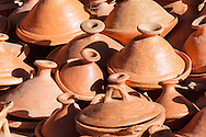 Tagines for sell in the medina of Chefchaouen, Morocco. Keramic pots for cooking.