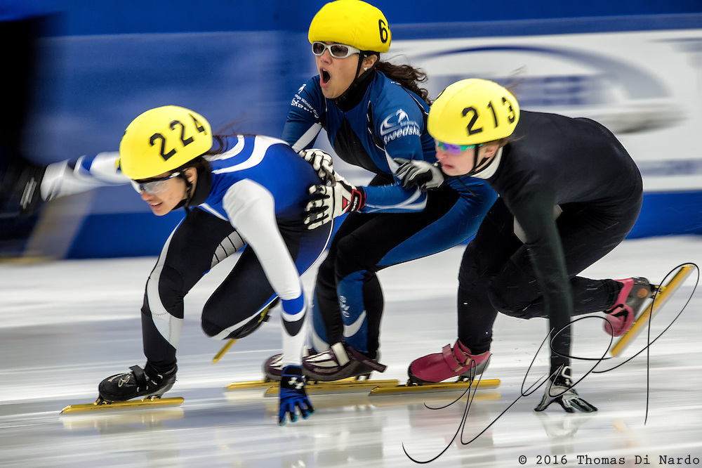 March 20, 2016 - Verona, WI - Stephanie Velez, skater number 61 competes in US Speedskating Short Track Age Group Nationals and AmCup Final held at the Verona Ice Arena.