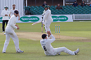 WICKET - Mark Cosgrove is caught by Tom Bailey during the Specsavers County Champ Div 2 match between Leicestershire County Cricket Club and Lancashire County Cricket Club at the Fischer County Ground, Grace Road, Leicester, United Kingdom on 26 September 2019.