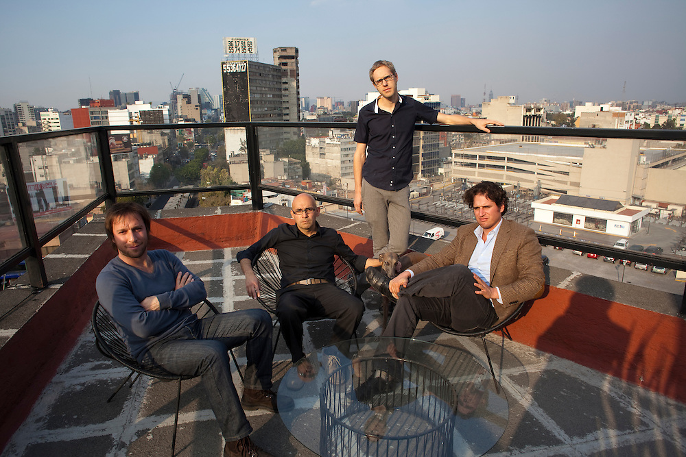 Left to right: Abel Perles,Carlos Bedoya,Wonne Icks and Victor Jaime of Productora sit on the terrace of their office in Mexico City.
