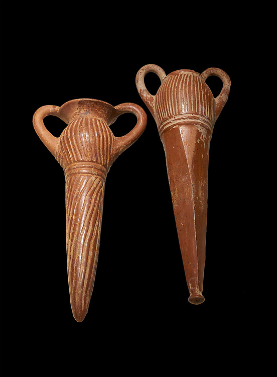 Bronze Age Anatolian terra cotta two handled beakers - 19th to 17th century BC - Kültepe Kanesh - Museum of Anatolian Civilisations, Ankara, Turkey.  Against a black background. .<br /> <br /> If you prefer to buy from our ALAMY PHOTO LIBRARY  Collection visit : https://www.alamy.com/portfolio/paul-williams-funkystock/kultepe-kanesh-pottery.html<br /> <br /> Visit our ANCIENT WORLD PHOTO COLLECTIONS for more photos to download or buy as wall art prints https://funkystock.photoshelter.com/gallery-collection/Ancient-World-Art-Antiquities-Historic-Sites-Pictures-Images-of/C00006u26yqSkDOM
