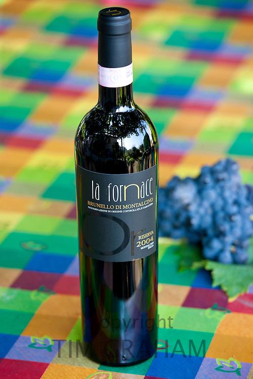La Fornace Brunello di Montalcino 2004 Riserva bottle of red wine at wine estate of La Fornace in Val D'Orcia, Tuscany, Italy