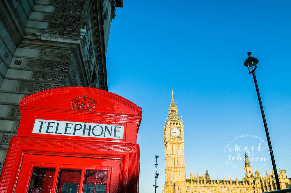 London, England, UK --- Telephone Booth with Big Ben in the Background