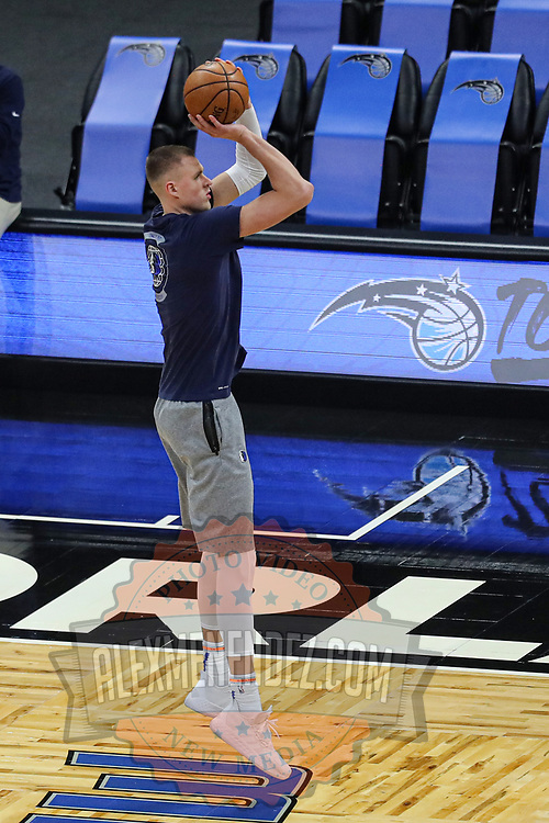 ORLANDO, FL - MARCH 01: Kristaps Porzingis #6 of the Dallas Mavericks warms up prior to a game against the Orlando Magic at Amway Center on March 1, 2021 in Orlando, Florida. NOTE TO USER: User expressly acknowledges and agrees that, by downloading and or using this photograph, User is consenting to the terms and conditions of the Getty Images License Agreement. (Photo by Alex Menendez/Getty Images)*** Local Caption *** Kristaps Porzingis