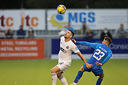 Cove Rangers' Ian Vigurs (16) and Inverness Caledonian Thistle's Reece McAlear (23) battles for possession, tussles, tackles, challenges, during the Premier Sports Scottish League Cup match between Cove Rangers and Inverness CT at Balmoral Stadium, Aberdeen, Scotland on 20 July 2021.