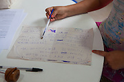 Ketlin practices her writing and spelling at the community library, Biblioteca Comunitaria do Arquipelago, Porte Alegre, Brazil. <br /> <br /> Cirandar is working in partnership with  C&A and C&A Instituto to implement a network of Community Libraries in eight communities of Porto Alegre.