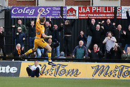 Mickey Demetriou of Newport county (28) celebrates with the Newport fans after he scores his teams 1st goal. EFL Skybet football league two match, Newport county v Crawley Town at Rodney Parade in Newport, South Wales on Saturday 1st April 2017.<br /> pic by Andrew Orchard, Andrew Orchard sports photography.