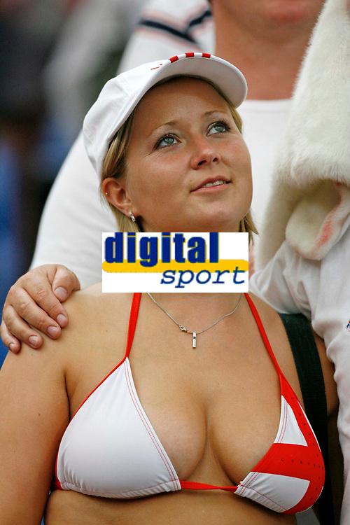 Photo: Glyn Thomas.<br />England v Portugal. Quarter Finals, FIFA World Cup 2006. 01/07/2006.<br /> A female England fan.