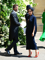 David and Victoria Beckham at St George's Chapel at Windsor Castle after the wedding of Meghan Markle and Prince Harry.