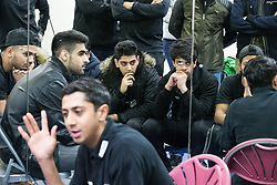 © Licensed to London News Pictures . 16/01/2017 . Salford , UK . Q&A session at street cricket event , attended by England cricketer HASEEB HAMEED , at Clarendon Leisure Centre in Salford . Photo credit : Joel Goodman/LNP