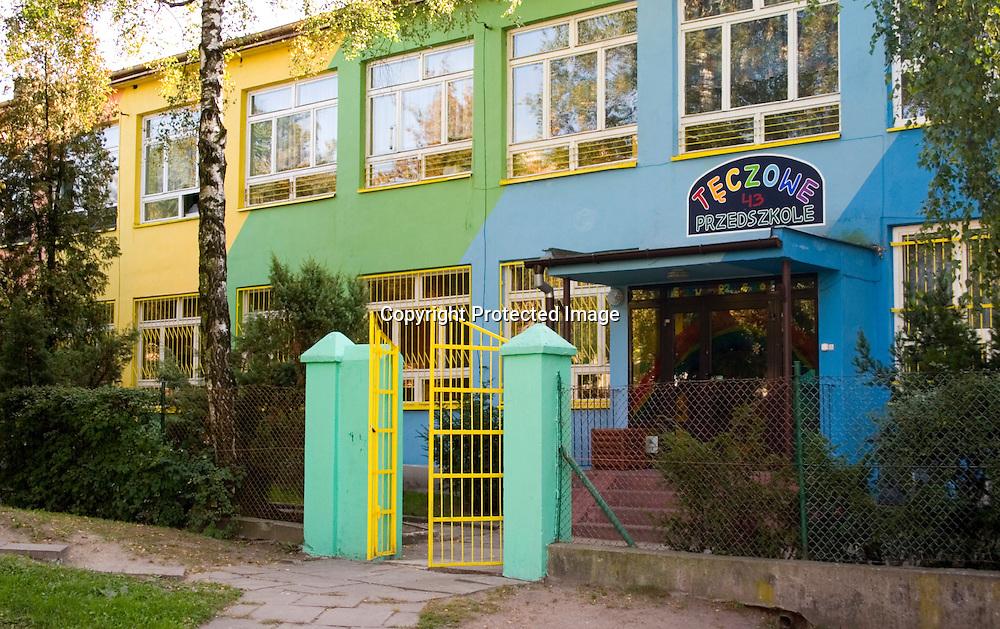 Front gate and building of the Rainbow Preschool Teczowe Przedszkole Balucki District Lodz Central Poland