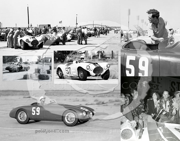 Sebring 1953: Cunningham's first great victory in the 12-hour enduro, with John Fitch and Phil Walters guiding the big, bold C-4R through the night ... and Briggs himself driving his graceful little OSCA to a win in class; six of Ozzie Lyons' finest pictures.