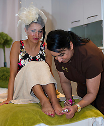 Eliza Swenarek enjoys a pedicure at Allure Medi Spain Debenhams at Ocean Terminal to get ready for Ladies Day at Musselburgh Race Course. 11 June 2012 (Ger Harley | StockPix).