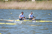 Brandenburg. GERMANY. GBR M2-, Bow Alan SINCLAIR and Stewart INNES battle the conditions at the 1000 meter mark. 2016 European Rowing Championships at the Regattastrecke Beetzsee<br /> <br /> Sunday  08/05/2016 <br /> <br /> [Mandatory Credit; Igor MEIJER/Intersport-images]