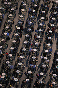 Shot taken from above of several cafe tables lined up in St. Mark's Plaza (Piazza San Marco) that fill the entire frame, Venice, Italy...Subject photograph(s) are copyright Edward McCain. All rights are reserved except those specifically granted by Edward McCain in writing prior to publication...McCain Photography.211 S 4th Avenue.Tucson, AZ 85701-2103.(520) 623-1998.mobile: (520) 990-0999.fax: (520) 623-1190.http://www.mccainphoto.com.edward@mccainphoto.com.