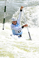 David Florence of Great Britain on his way to victory in the C1 mens final. ICF Canoe slalom world cup at the Cardiff white water centre in Cardiff, South Wales on Saturday 9th June 2012.  pic by Andrew Orchard, Andrew Orchard sports photography,