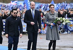 The Duke and Duchess of Cambridge speak to Aiyawatt Srivaddhanaprabha (left) during their visit to The King Power Stadium to pay tribute to those who lost their lives in the Leicester City helicopter crash including Leicester City Chairman Vichai Srivaddhanaprabha