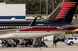 November 27, 2016 - Florida, U.S. - President elect Donald Trump leaves Palm Beach International Airport on his personal plane in West Palm Beach after his Thanksgiving holiday stay at Mar-a-Lago on November 27, 2016. (Credit Image: © Richard Graulich/The Palm Beach Post via ZUMA Wire)