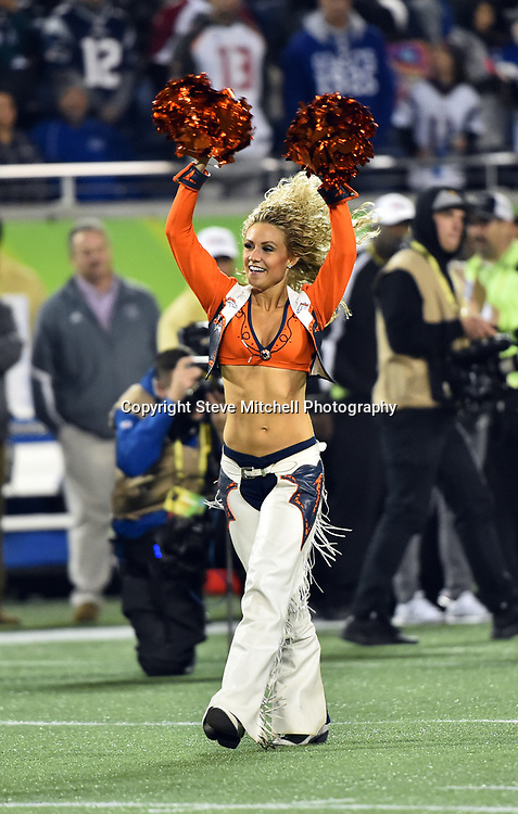 Jan 29, 2017; Orlando, FL, USA; NFC cheerleader of the Denver Broncos is introduced before the game against the AFC at the 2017 Pro Bowl at Citrus Bowl. Mandatory Credit: Steve Mitchell