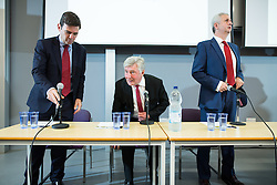 © Licensed to London News Pictures . 21/07/2016 . Manchester , UK . Hustings for the Mayoralty of Greater Manchester , at the Renold Building of the University of Manchester . Labour candidates Andy Burnham ( MP for Leigh ) , Tony Lloyd ( current interim Mayor ) and  Ivan Lewis ( MP for Bury South ) debate their relative candidacies . Photo credit : Joel Goodman/LNP