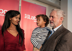 © Licensed to London News Pictures. 15/10/2015. Bristol, UK.  Bristol Labour councillor Hibaq Jama with JEREMY CORBYN, leader of the Labour Party, at a rally for Labour Party members at the Trinity Centre in Bristol, to highlight and oppose the impact of the Governmentís changes to voter registration, expected to remove 1 million voters from the electoral roll by the end of the year. Photo credit : Simon Chapman/LNP