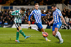 Jarrett Rivers of Blyth Spartans shoots and scores the winning goal past Matthew Bates of Hartlepool United to make it 1-2 and send his non league side through to the next round of the FA Cup - Photo mandatory by-line: Rogan Thomson/JMP - 07966 386802 - 05/12/2014 - SPORT - FOOTBALL - Hartlepool, England - Victoria Park - Hartlepool United v Blyth Spartans - FA Cup Second Round Proper.