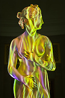 """Loop 2000 video/sound installation by Jennifer Steinkamp and Jimmy Johnson (featuring the statue """"Venus"""" by Thomas Hope, Corcoran Gallery of Art, Washington D.C., U.S.A."""