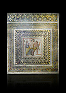 Roman mosaics - Dionysus Mosaic. Poseidon Villa Ancient Zeugama, 3rd century AD . Zeugma Mosaic Museum, Gaziantep, Turkey.   Against a black background. .<br /> <br /> If you prefer to buy from our ALAMY PHOTO LIBRARY  Collection visit : https://www.alamy.com/portfolio/paul-williams-funkystock/roman-mosaic.html - Type -   Zeugma   - into the LOWER SEARCH WITHIN GALLERY box. Refine search by adding background colour, place, museum etc<br /> <br /> Visit our ROMAN MOSAIC PHOTO COLLECTIONS for more photos to download  as wall art prints https://funkystock.photoshelter.com/gallery-collection/Roman-Mosaics-Art-Pictures-Images/C0000LcfNel7FpLI