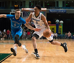 March 20, 2017 - Reno, Nevada, U.S - Reno Bighorn Guard LUIS MONTERO (2) drives against Texas Legends Guard KYLE COLLINSWORTH (6) during the NBA D-League Basketball game between the Reno Bighorns and the Texas Legends at the Reno Events Center in Reno, Nevada. (Credit Image: © Jeff Mulvihill via ZUMA Wire)