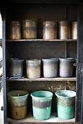 Pots of spice at Babu Shahi Bawarchi, New Delhi, India