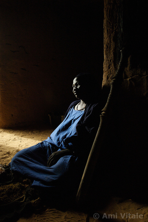 Adaha sits in her home and talks about the need for women and men to be able to have more equality in the  village of Intedeyne March 15, 2007.   the challenge to educate children in Mali still exists and particularly for girls. Female literacy rates never reach even 50 percent of male literacy rates. Mali has the highest percentage of people living below the poverty line in any country in the world. Ninety percent of Malians survive on less than two dollars a day.